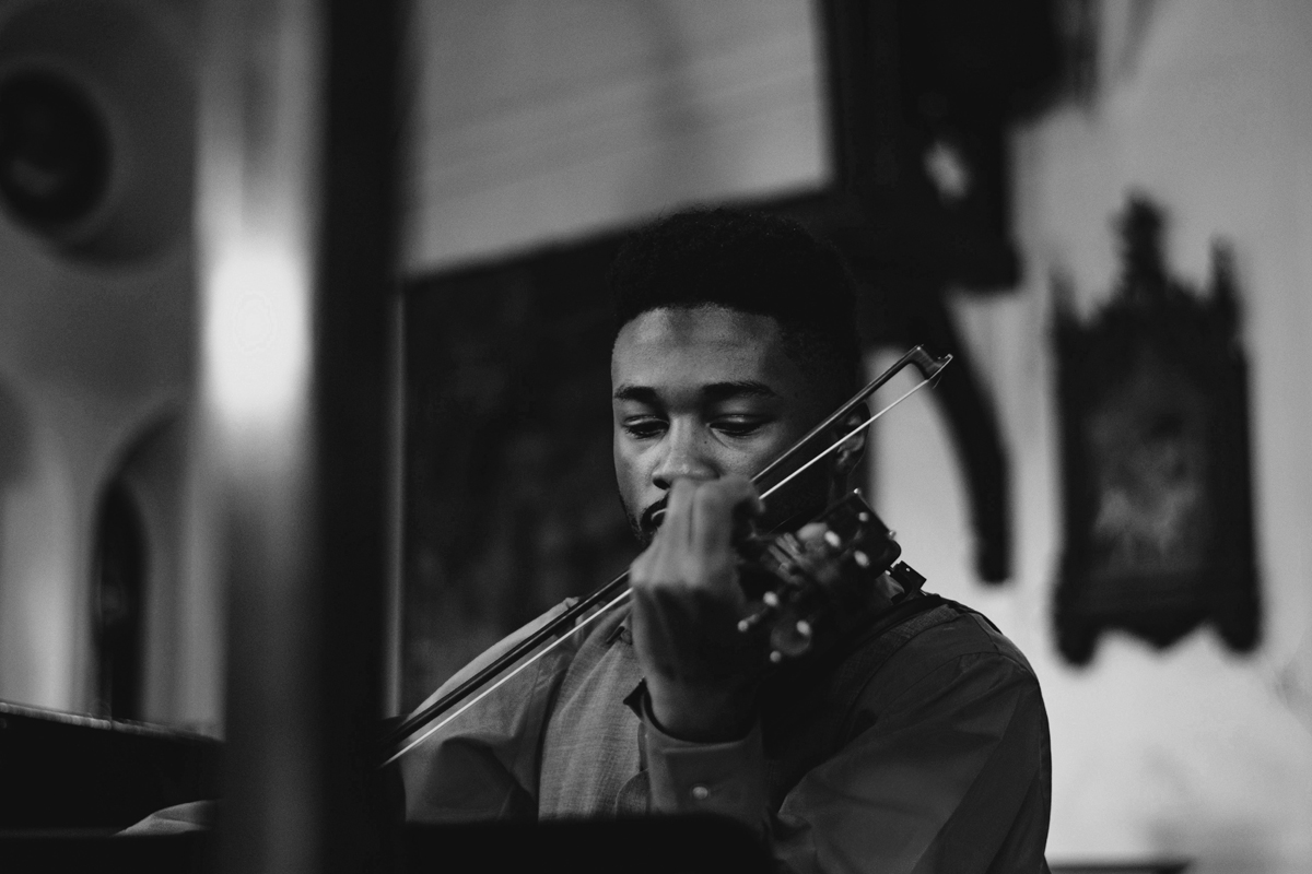 male violinist , black and white photo