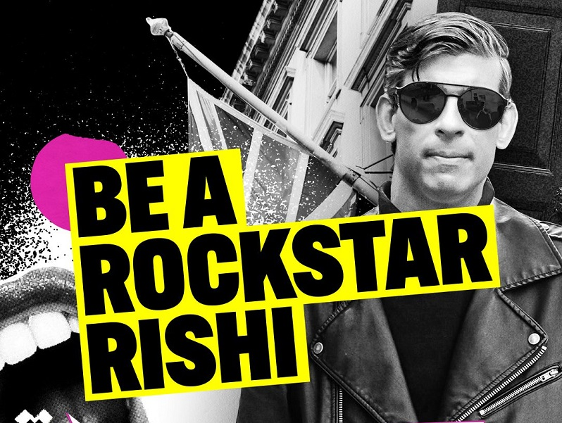 A collage of image and graphic, a photograph of Rishi Sunak in a leather jacket and sunglasses, with the addition of an open mouth rockstar symbol and large text reading