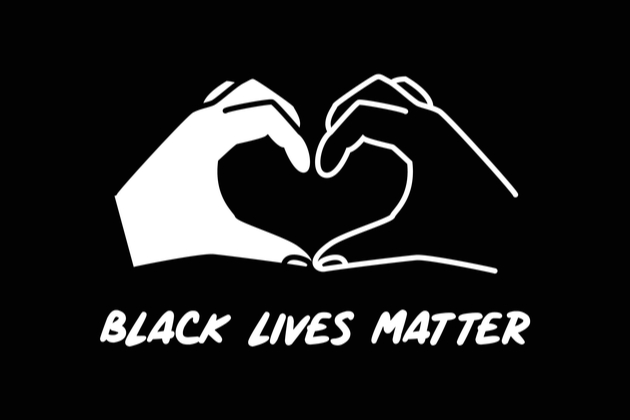 black lives matter illustration with white and black hands shaping a heart together