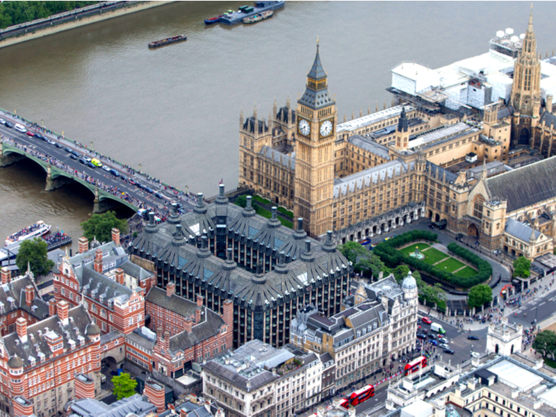 Central London from the air. Parliament Square and The Palace of Westminster