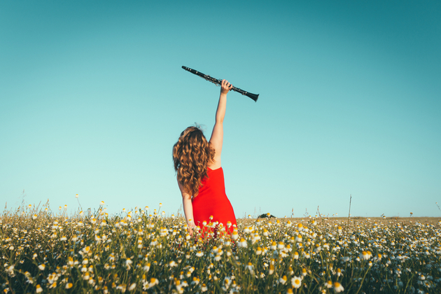 A woman in a sunny field full of flowers raises her clarinet above her head, arm outstretched in a celebratory posture. She's wearing a red dress and has long curly hair.