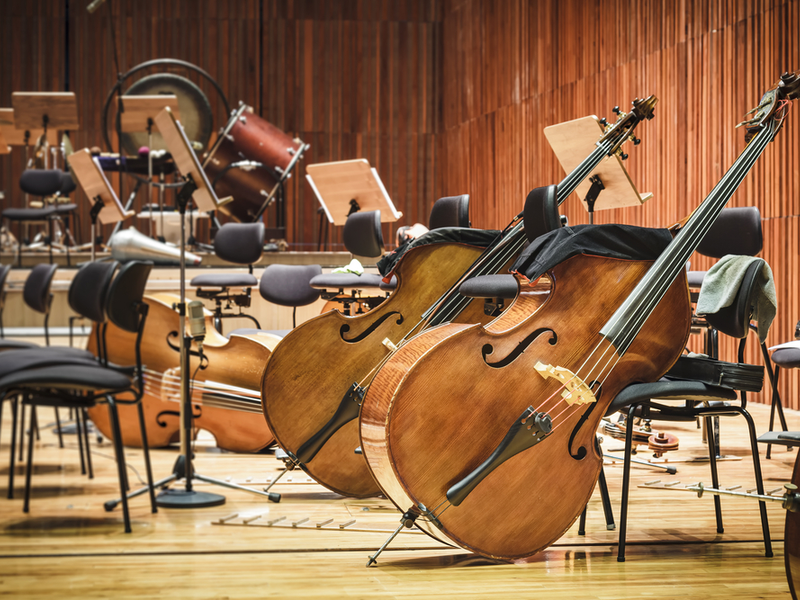 Photograph of a number of double basses left propped against chairs, there is also a percussion set in the background.
