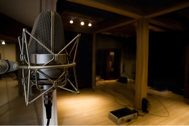 Photograph of an empty recording studio.
