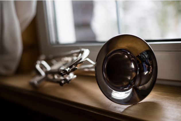 Photograph of a trumpet left lying on a window sill in clear morning light.