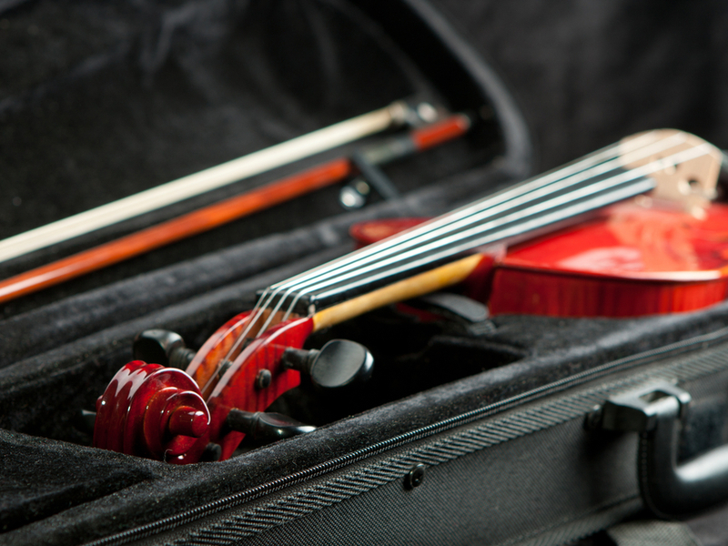 Photograph of a violin contained in a travel case. The travel case is resting open in the photo with the violn visiable.