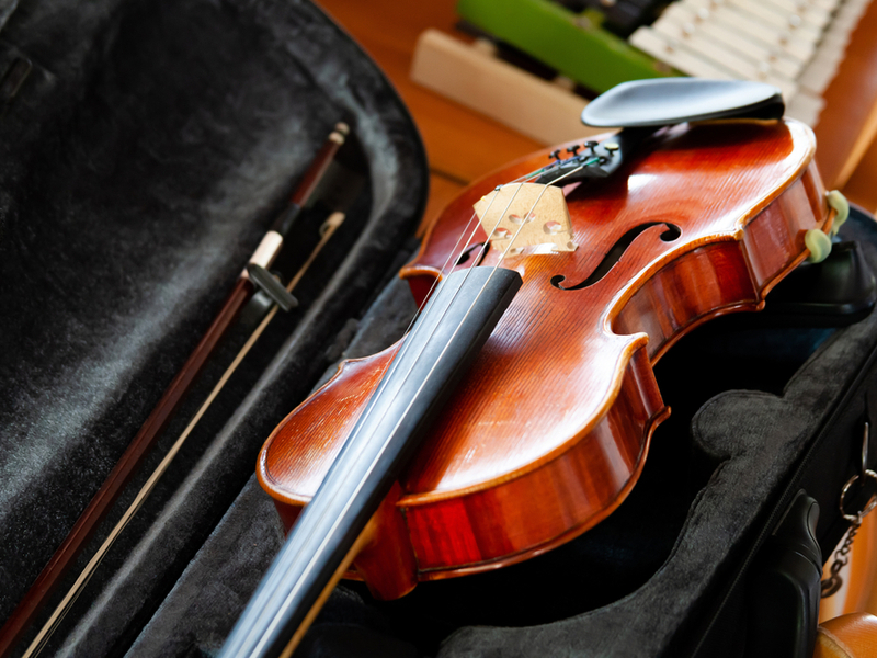 Photograph of a violin in a travel case.